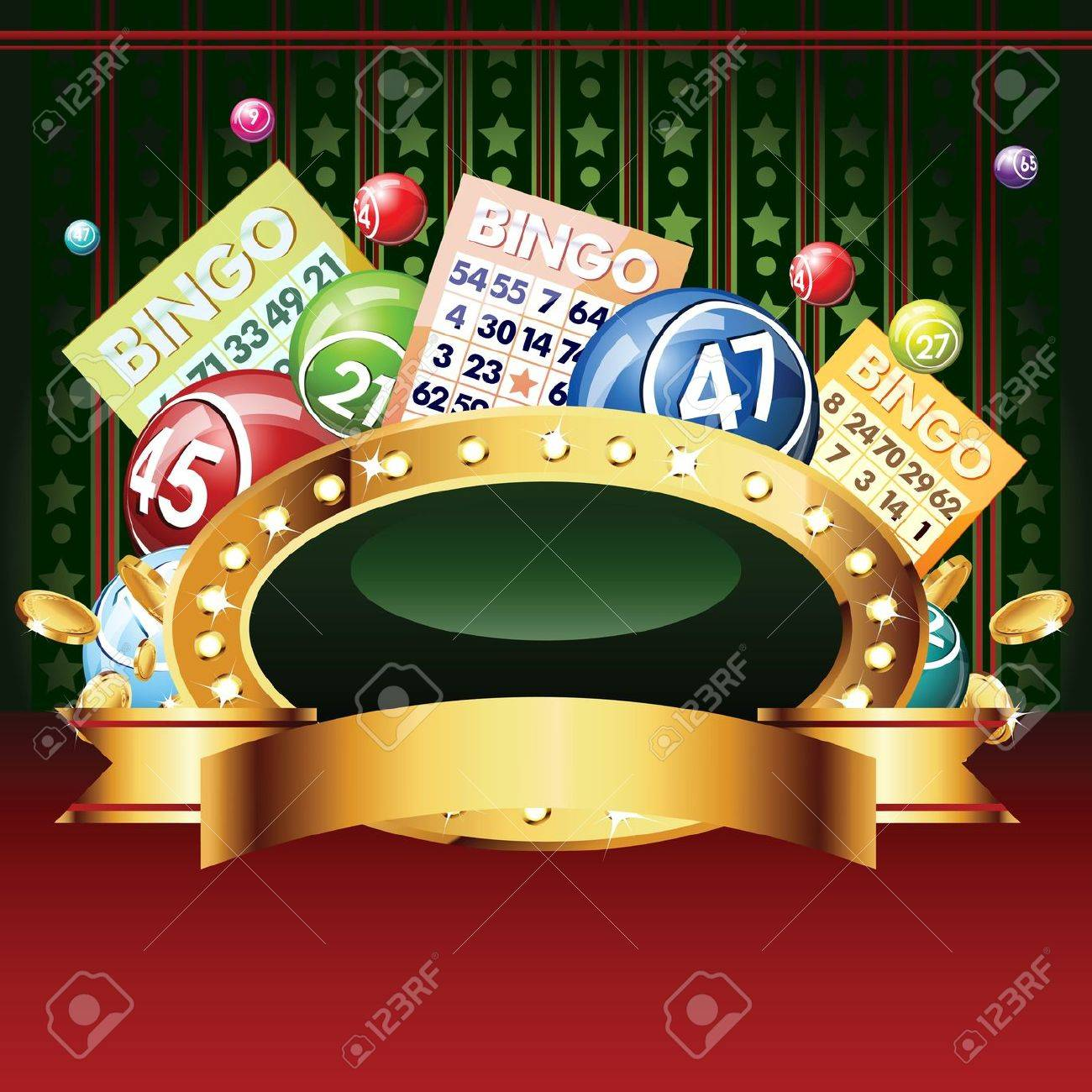 Bingo or lottery balls and cards. Stock Vector - 14830227