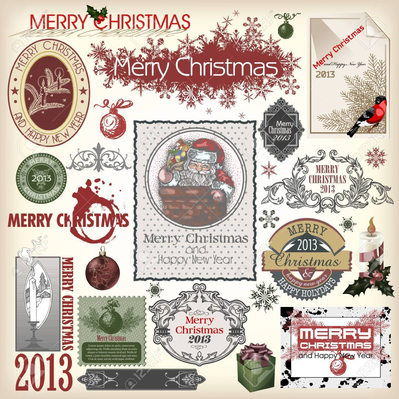 Set of vector Christmas designs and vintage new year labels Stock Vector - 15777685