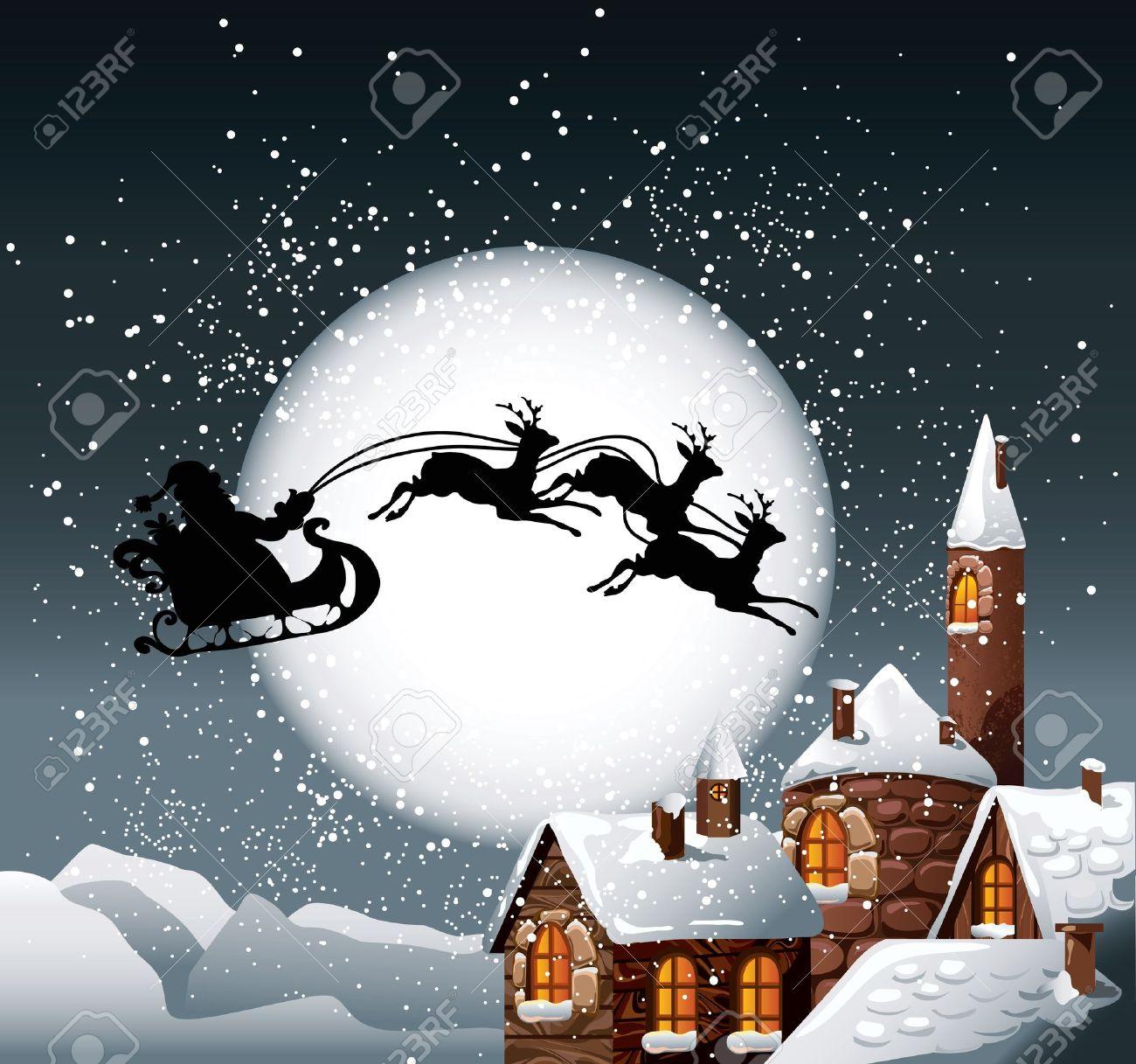Immagini Babbo Natale Con Renne.Illustrazione Di Natale Di Babbo Natale E Le Sue Renne Su Sfondo Luna Piena Con La Citta Innevata