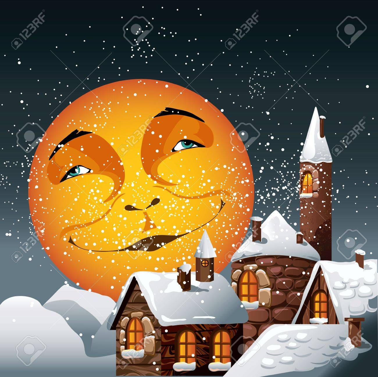 Christmas illustration of smiling moon and snowy town Stock Vector - 15873555