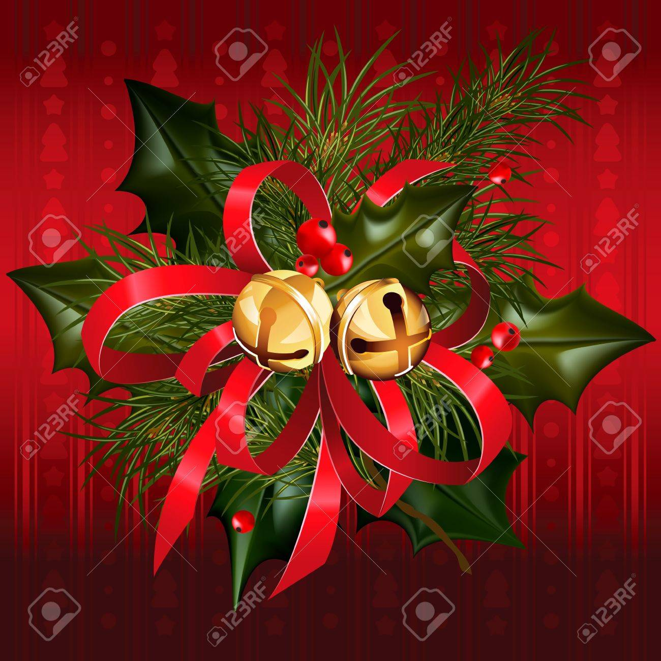 Pine Branches For Decoration Christmas Jingle Bells With Red Ribbon Holly And Pine Branches