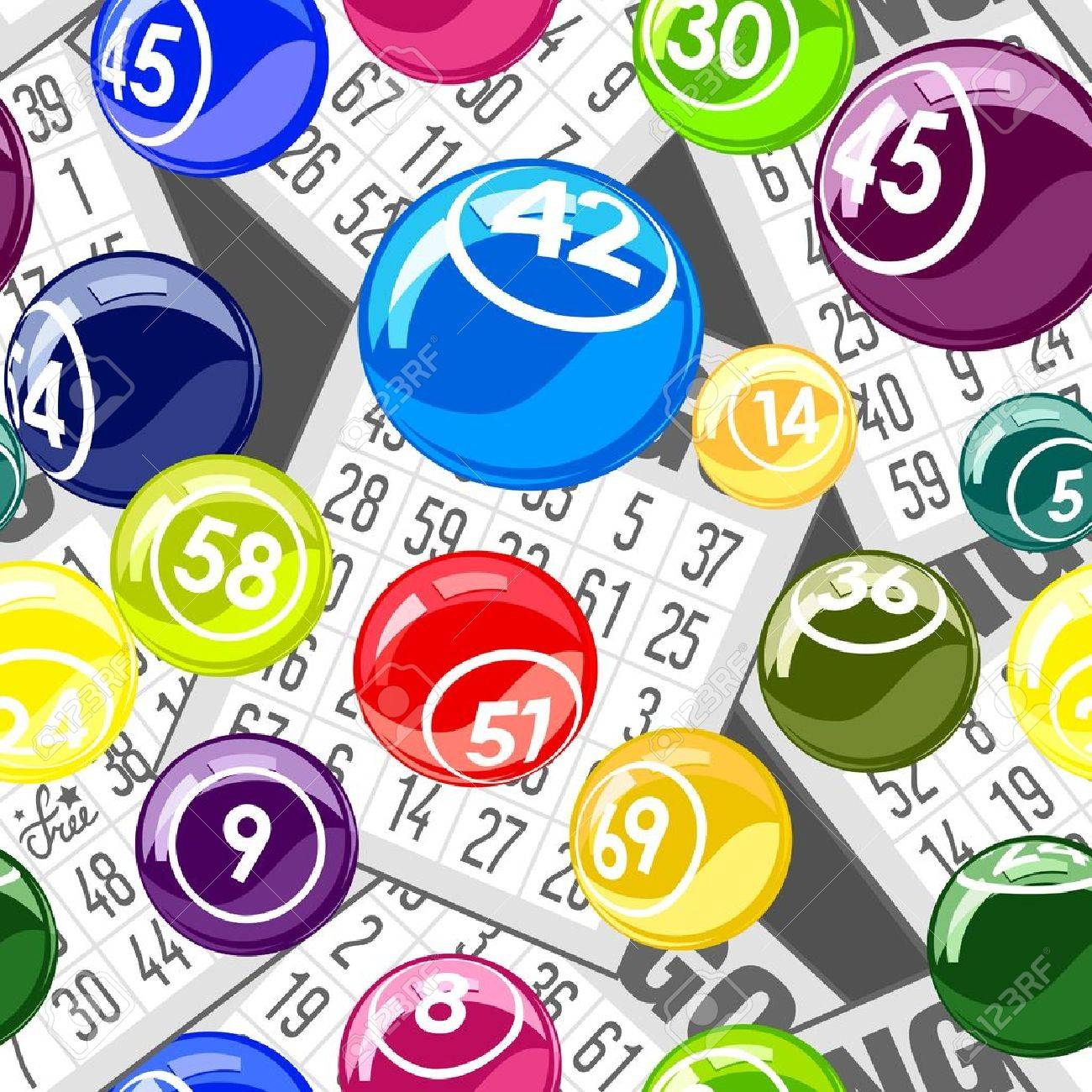 Bingo seamless background with balls and cards Stock Vector - 18514862