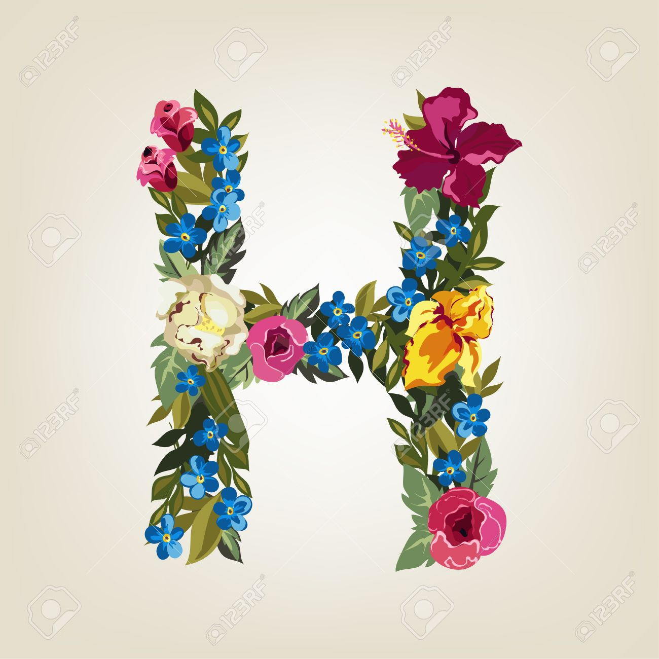 H Letter In Flower Capital Alphabet Royalty Free Cliparts Vectors