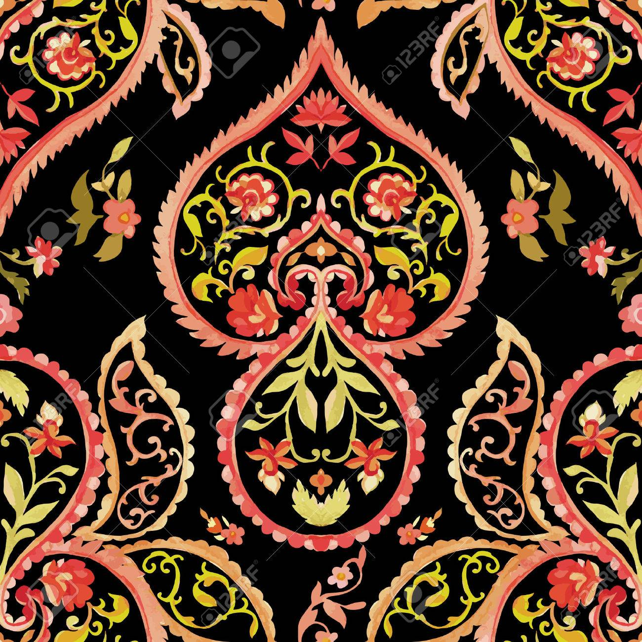 Watercolor paisley seamless pattern  Warm colors  Indian, persian