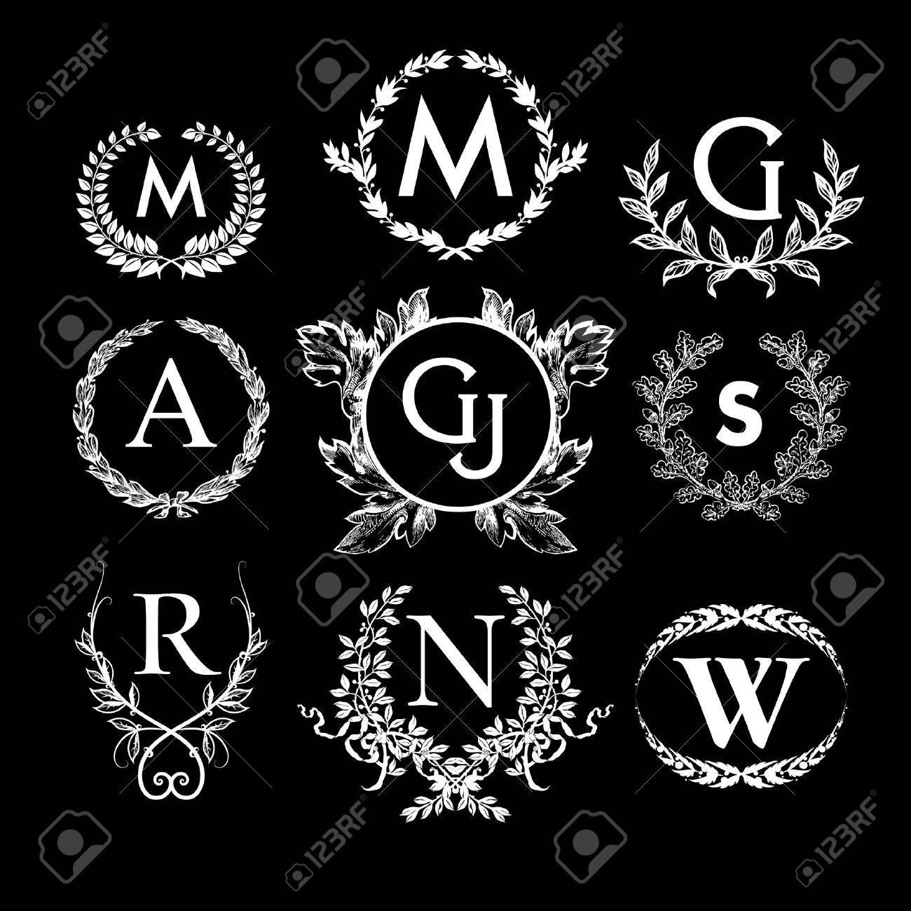 set of monochrome luxury monograms labels laurel wreaths or