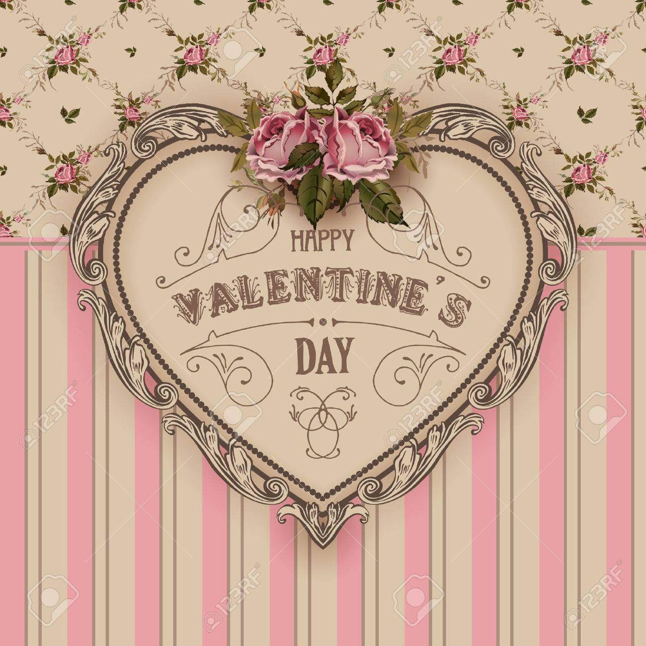 vintage shabby chic greeting card with roses royalty free cliparts