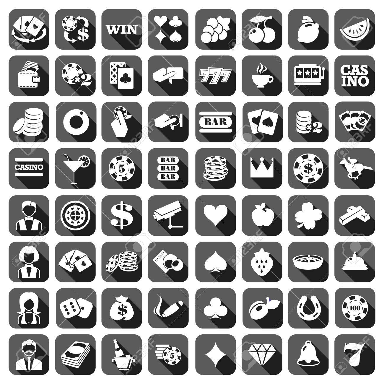The big set of flat gray monochrome slot machine icons. - 53635162