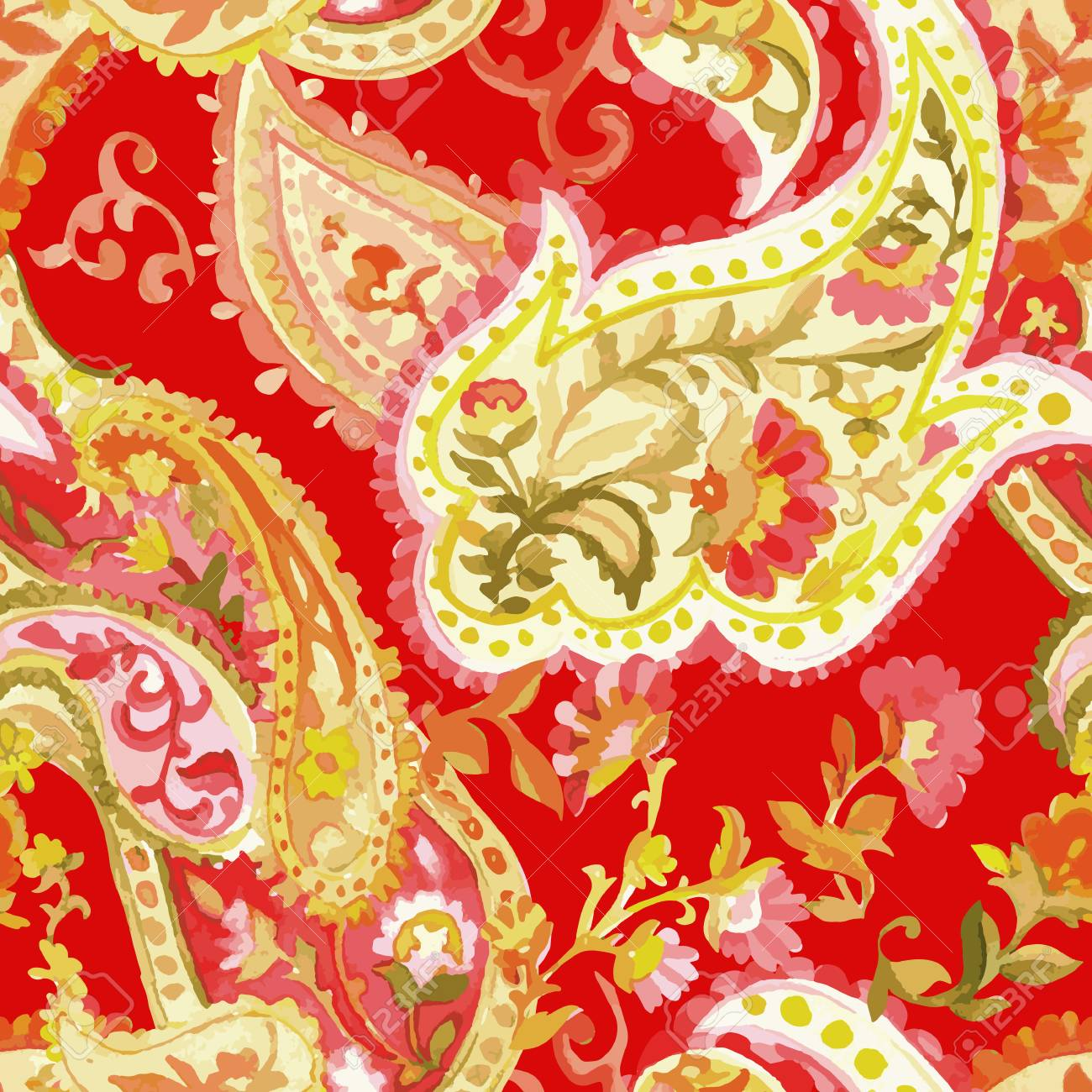 Watercolor Paisley Seamless Background on White  Cold Colors