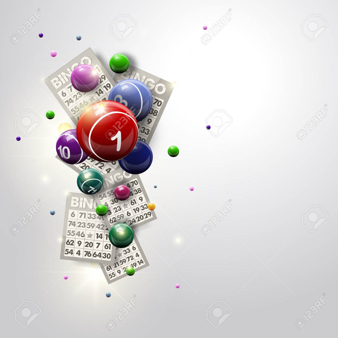 Bingo Balls and Cards Design on a Glowing White Background - 55717479