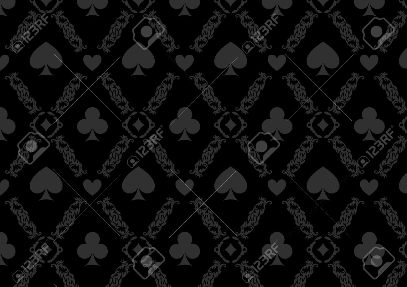 Black Seamless Casino Gambling Poker Background Or Damask Pattern Royalty Free Cliparts Vectors And Stock Illustration Image 55717510