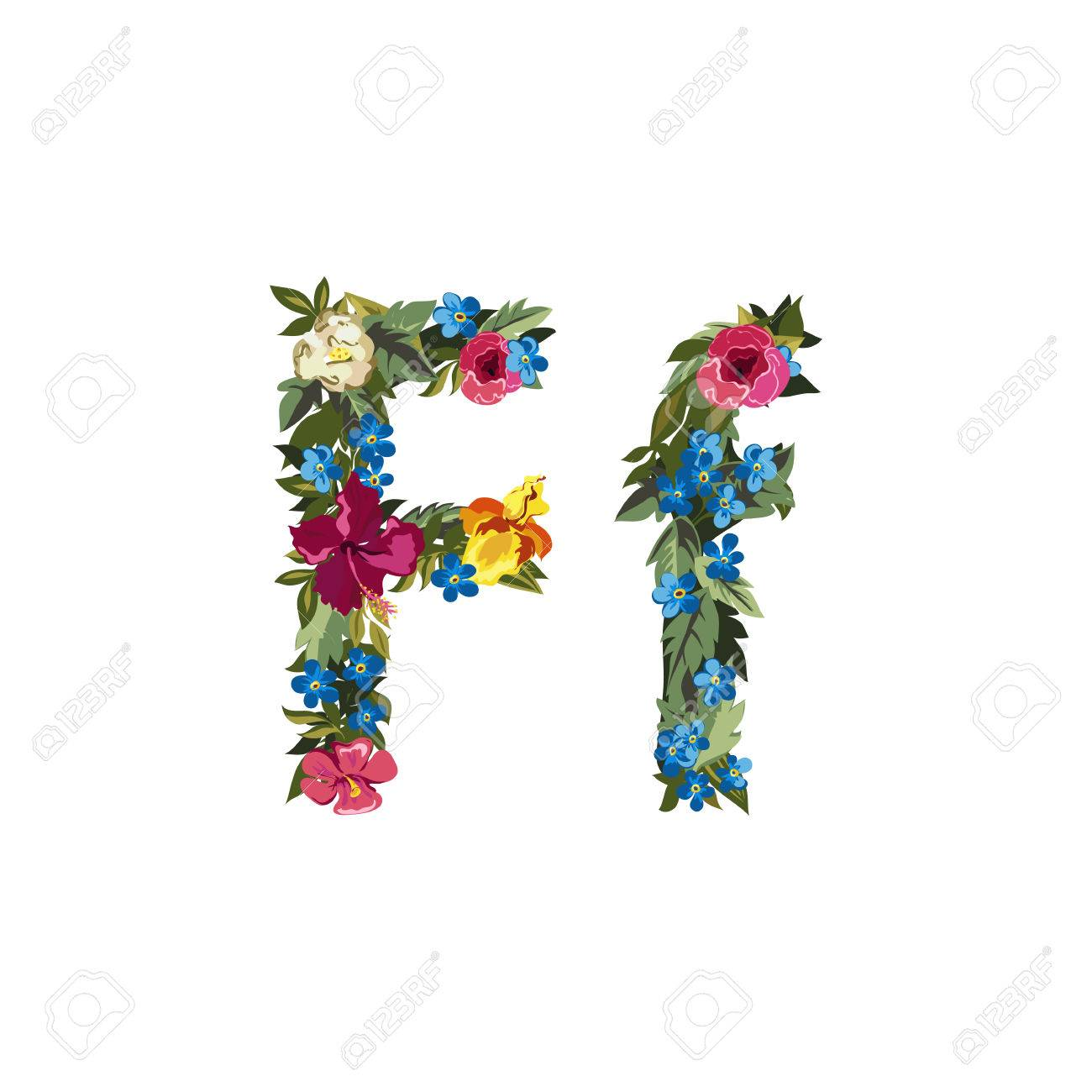 F Letter Flower Capital Alphabet Colorful Font Uppercase And Lowercase Vector Illustration
