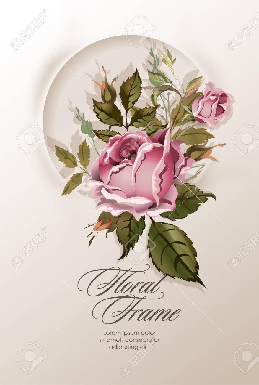 Ofrenda Floral Con La Vendimia Flores Color De Rosa. Rose Marco ...