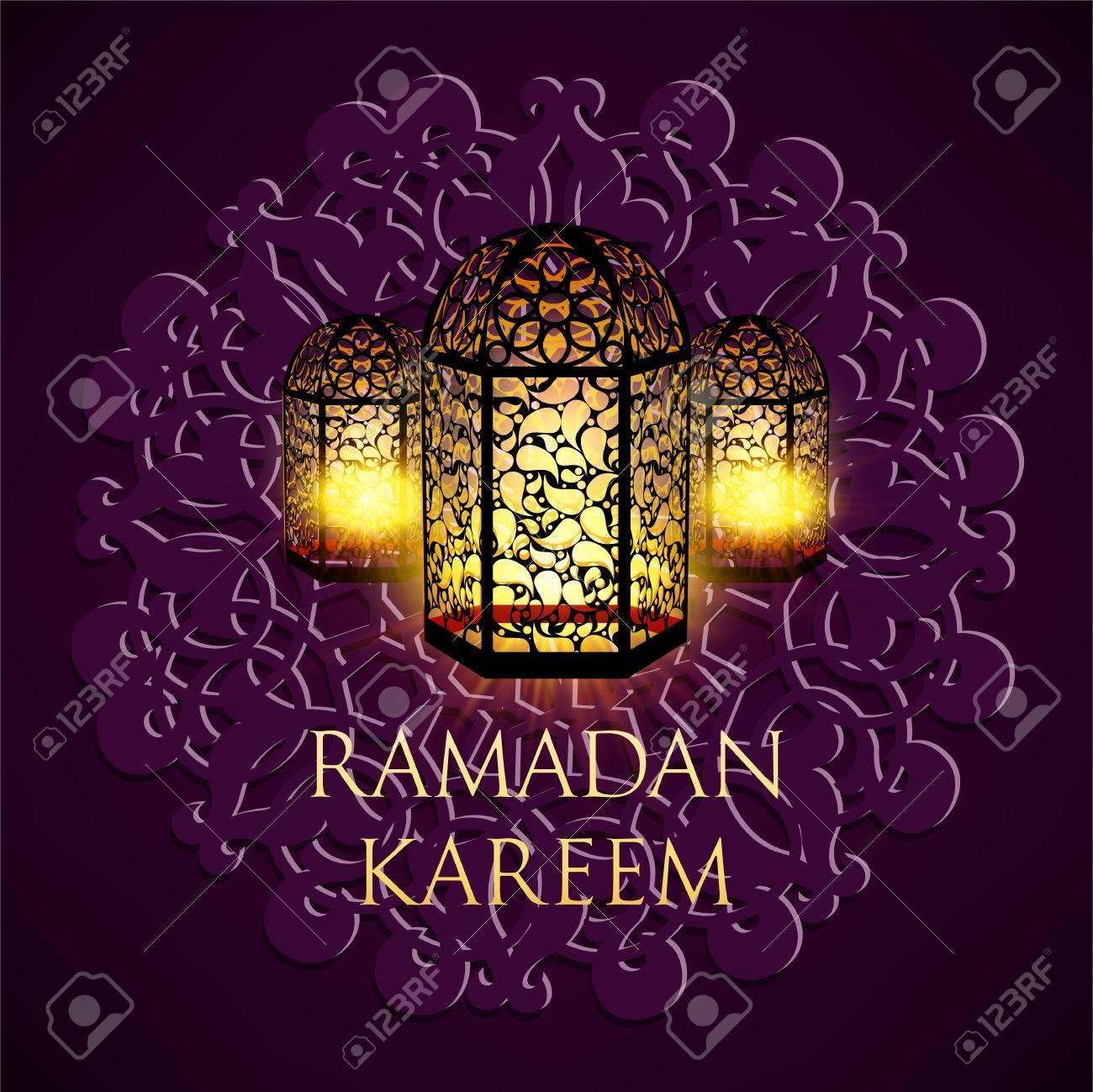 Ramadan Kareem Greeting Ornate Background Vector Illustration