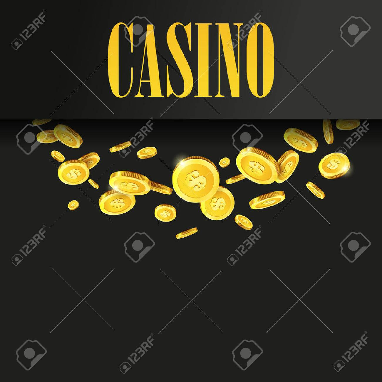 Casino Plakat-Hintergrund Oder Flyer Mit Fliegen Goldene Geld Münzen ...