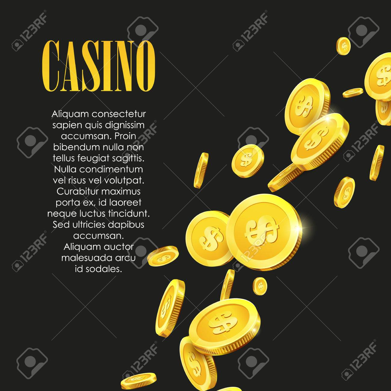 Casino Poster Background or Flyer with Golden Money Coins. Vector Template. Casino Banner. Casino Games Gambling Template background. - 57563086