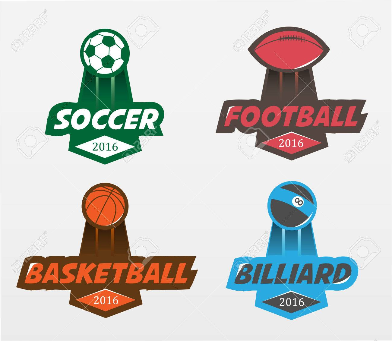 Sport-Abzeichen. Set Von Fußball-Fußball-Basketball Billard ...
