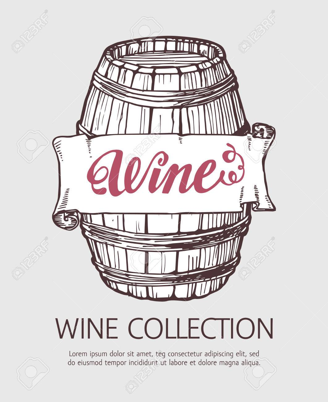 Wine Or Beer Wood Barrel. Handdrawn Vector Sketch Template With ...