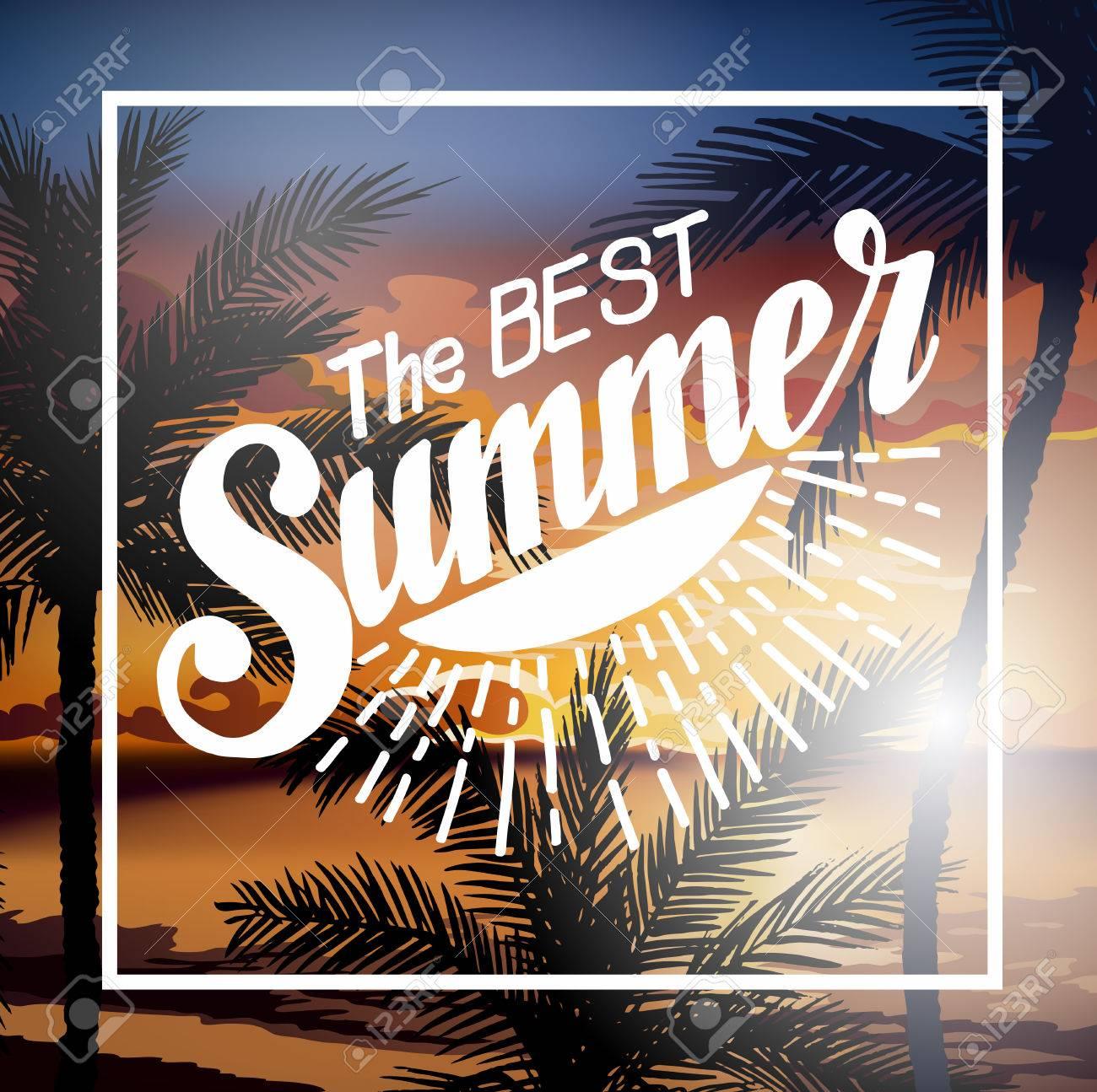 the best summer beach party flyer summer sunset vector lettering background tropic summer fun