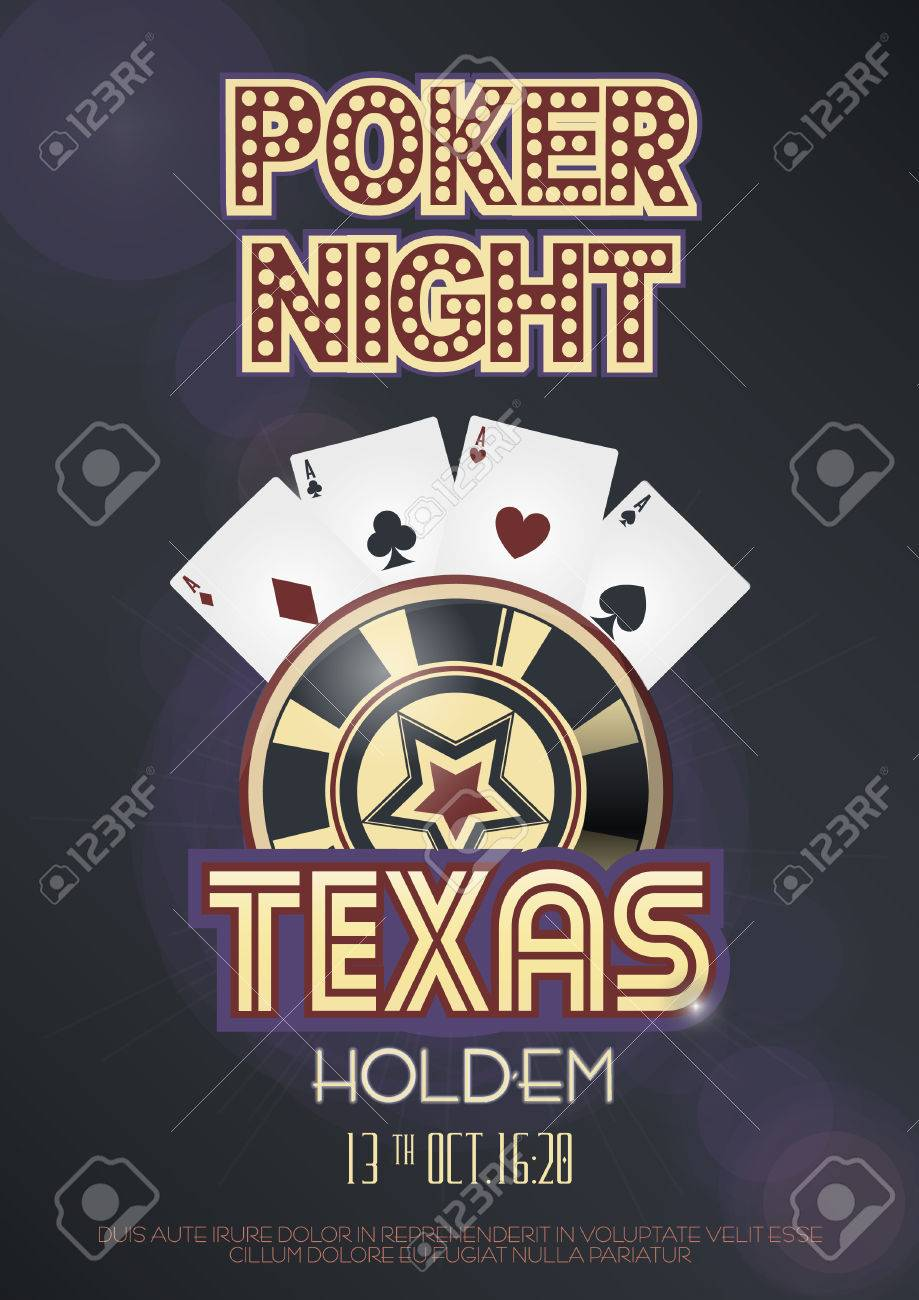 Texas holdem poker night invitation poster or banner template with imagens texas holdem poker night invitation poster or banner template with four aces combination lettering and casino poker chip vector illustration stopboris Gallery