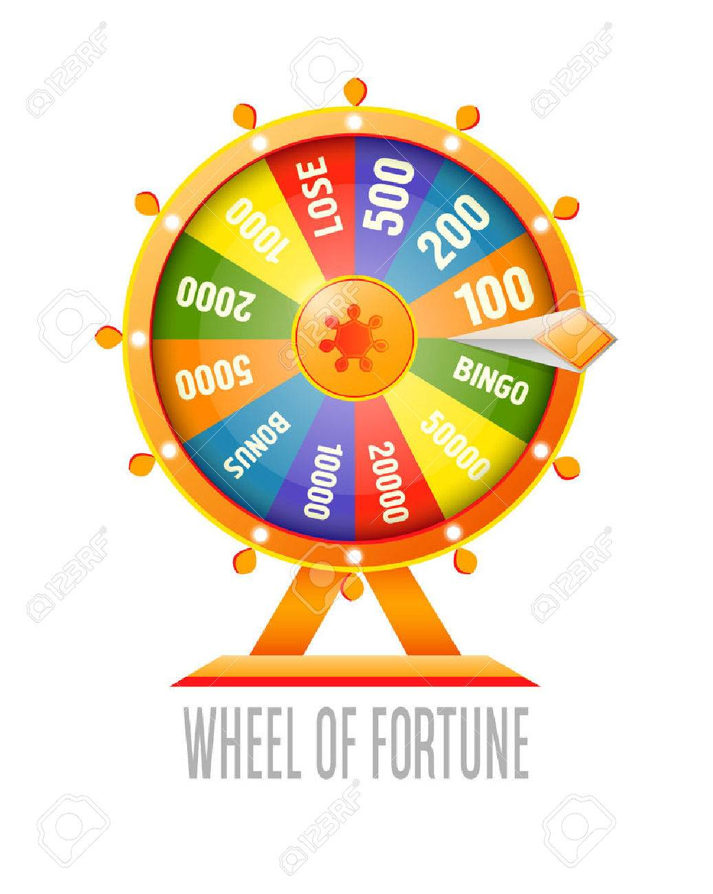 Wheel of fortune infographic design element. Flat style vector illustration isolated on white background. - 58662473