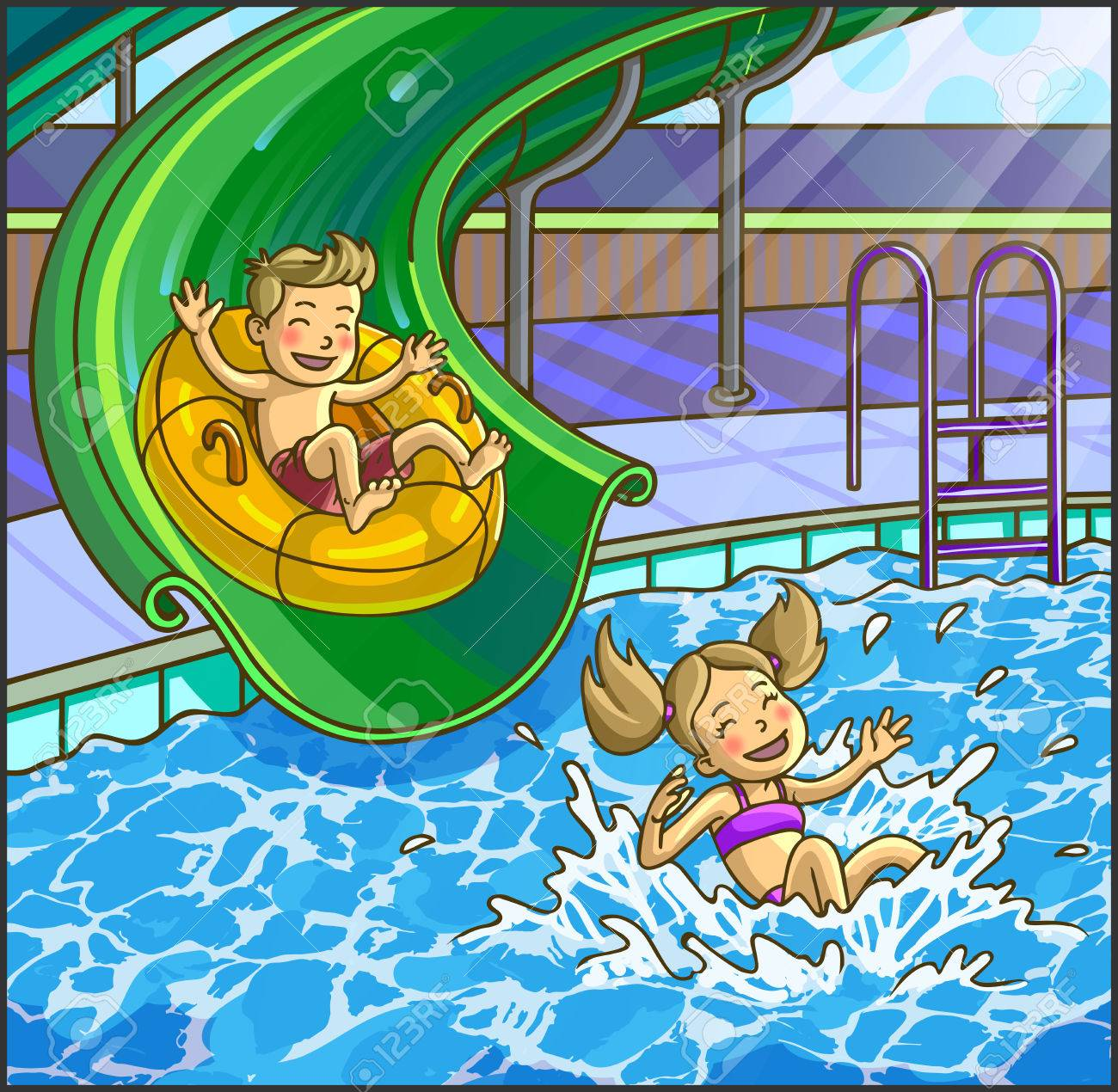 Summer fun aqua park. Water hills in an aquapark. The cheerful boy and girl rides on water hills. Vector Illustration. Happy children on water sliding. - 58662708