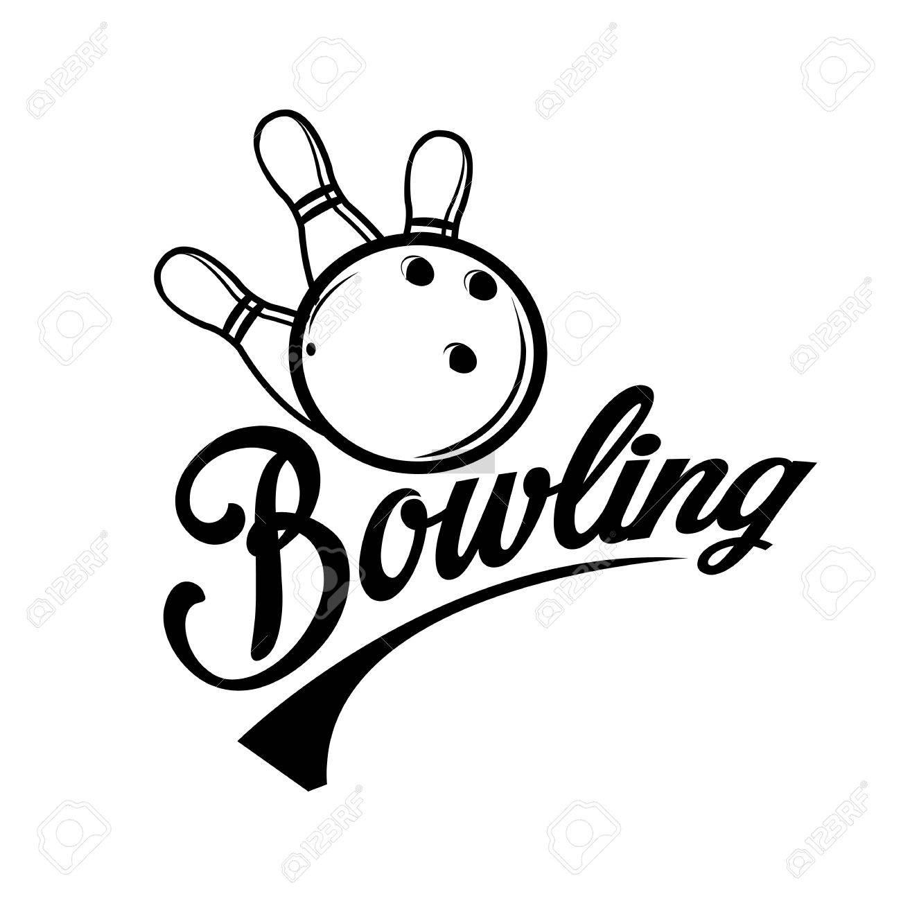 bowling emblems, labels, badges and designed elements. black
