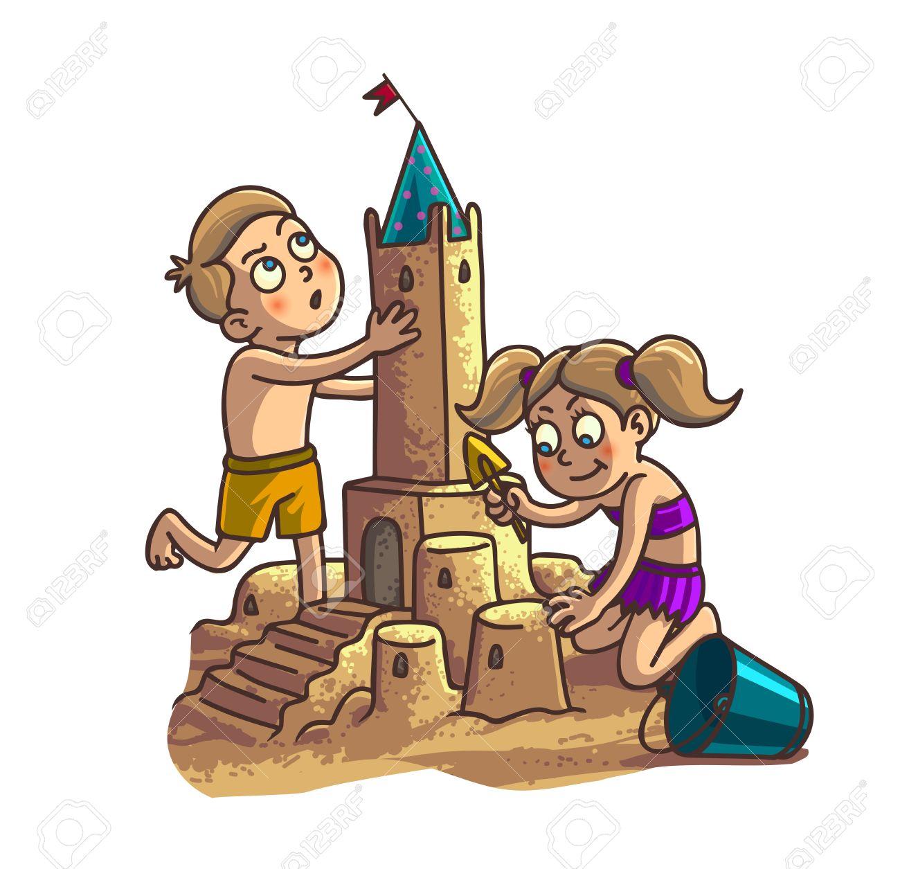 Castillo De Arena De La Diversión Del Verano. Lindo Dibujo Animado ...