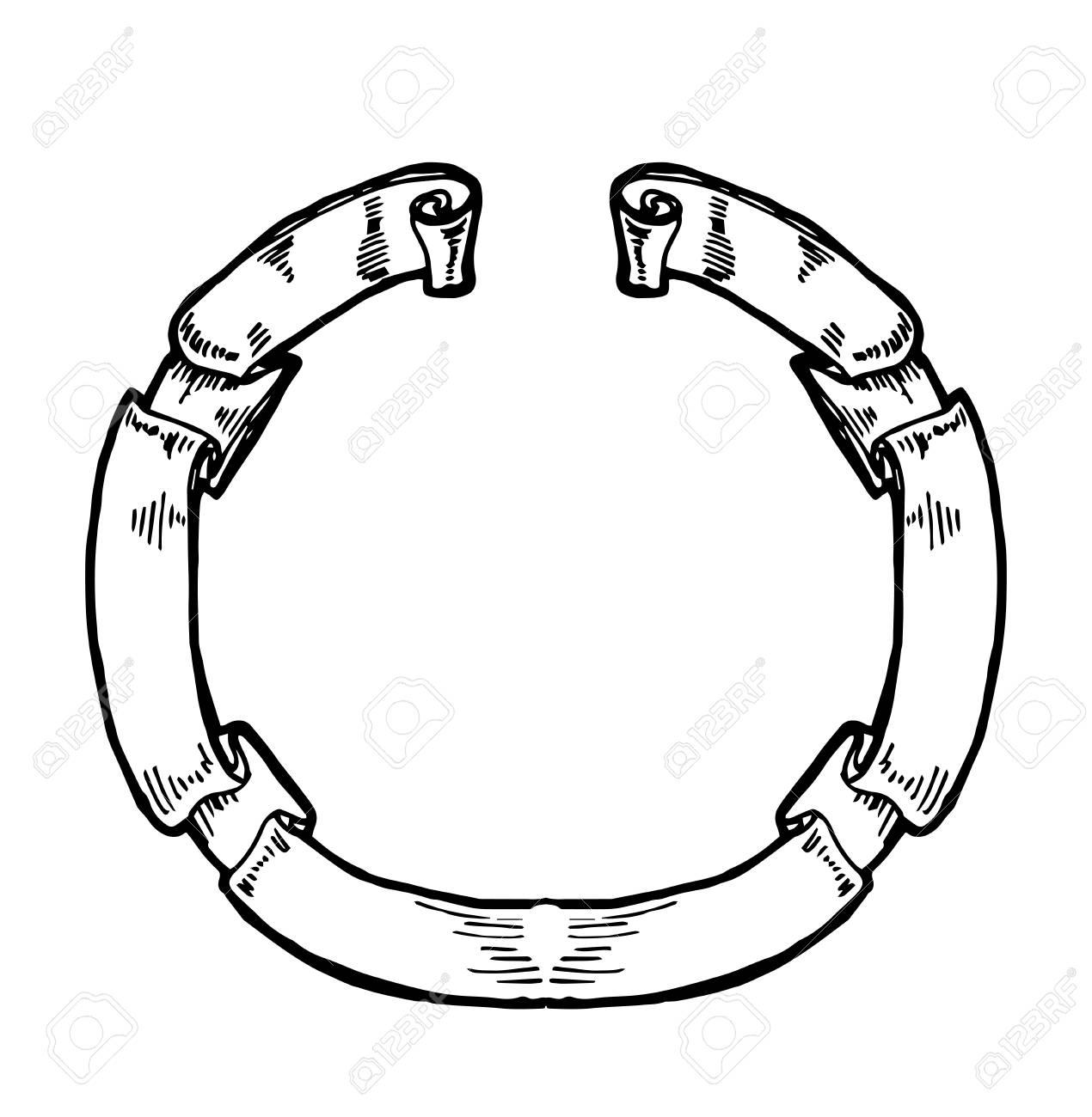 vintage circular ribbon banner hand drawn hand sketched element