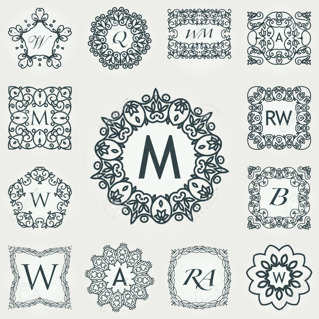 big set of luxury monogram template flourishes calligraphic