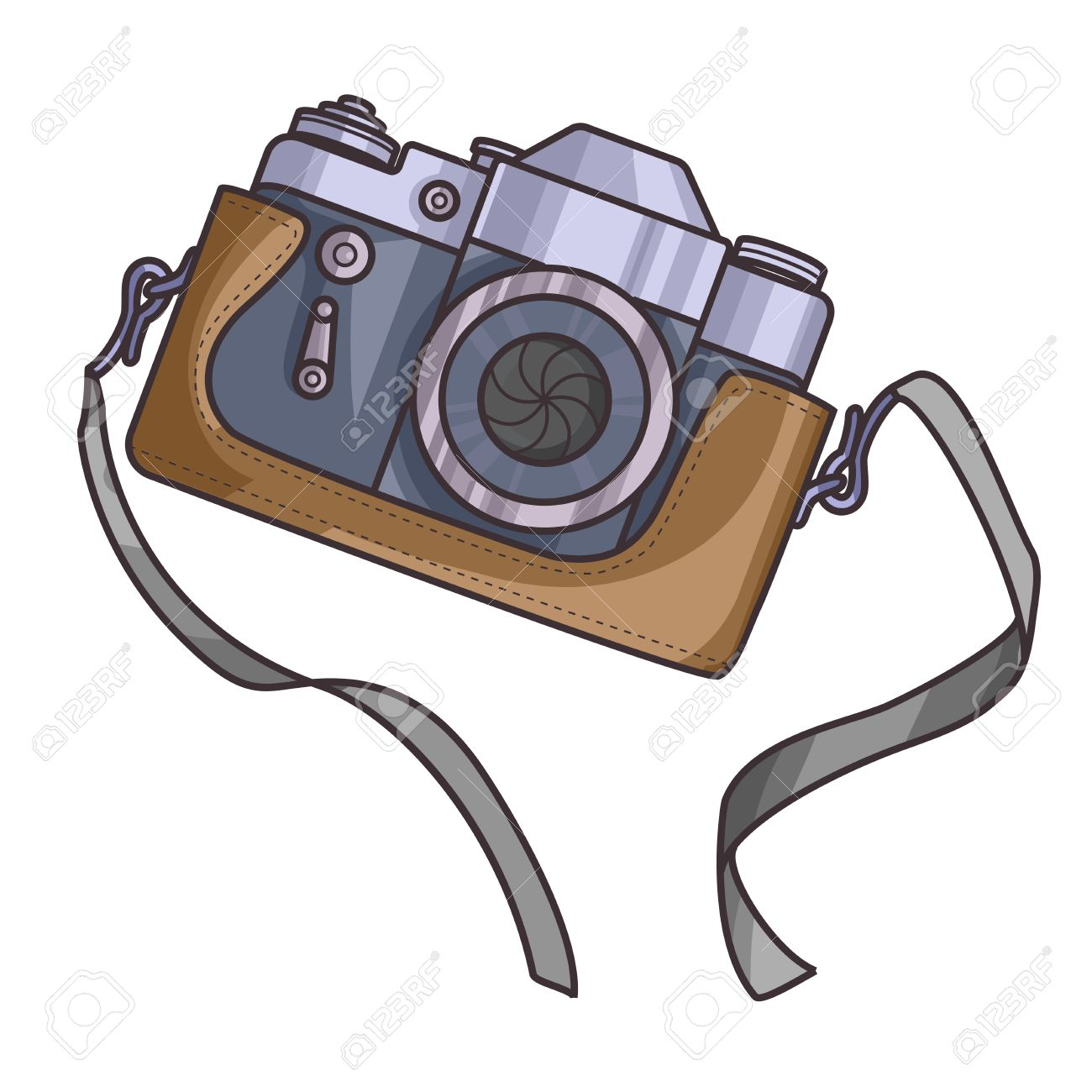 Retro Or Vintage Camera Cartoon Flat Style On A White Background Old With Strap
