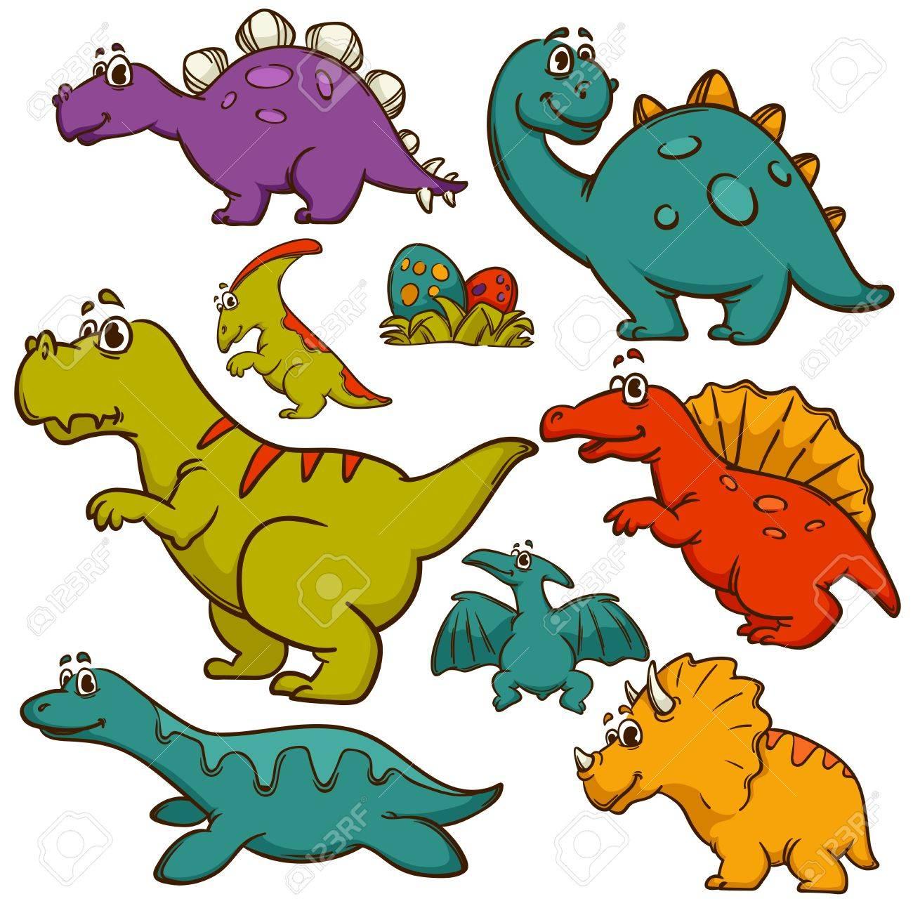 Conjunto De La Colección De Los Dinosaurios. Dinosaurios Animales ...