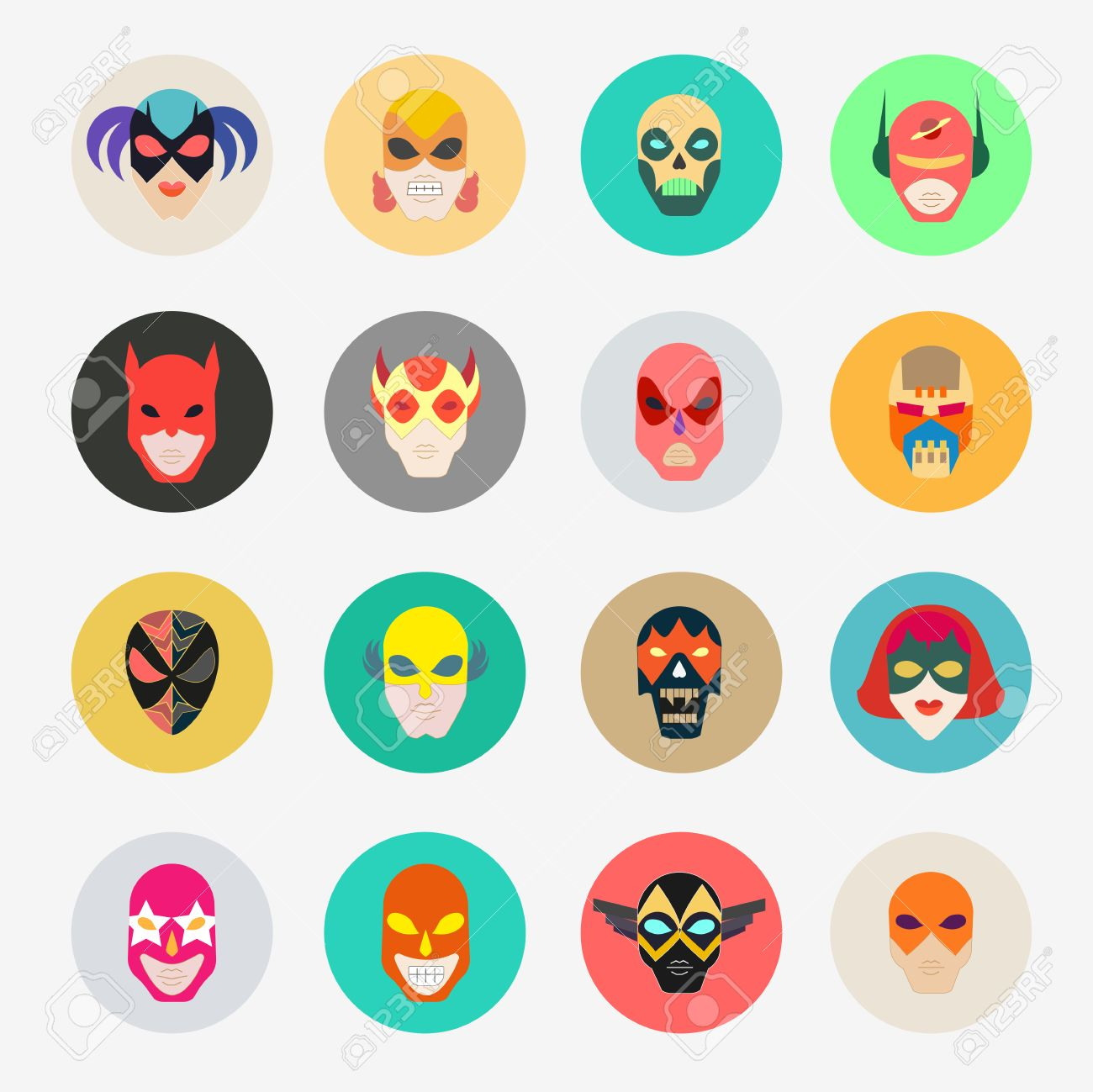 Super hero masks for face character superhero flat icons symbol super hero masks for face character superhero flat icons symbol of strong and heroic biocorpaavc Image collections