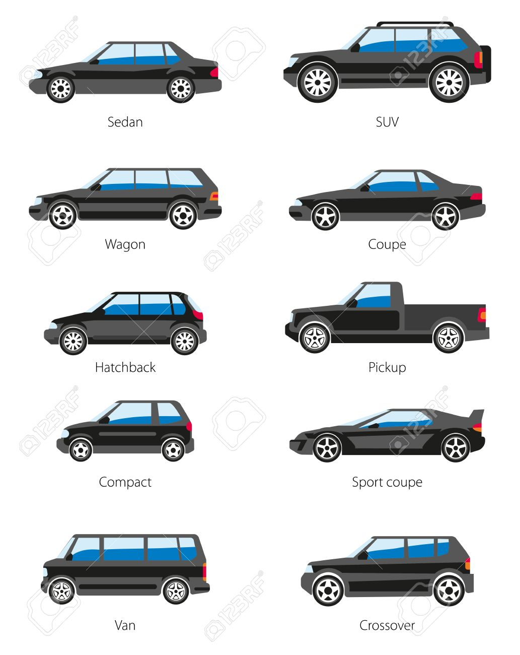 Vector   Vector Set Of Car Bodies In Black Color. Different Car Types  Icons: Sedan, Suv, Wagon, Coupe, Hatchback, Pickup, Compact, Sport Coupe,  Van, ...