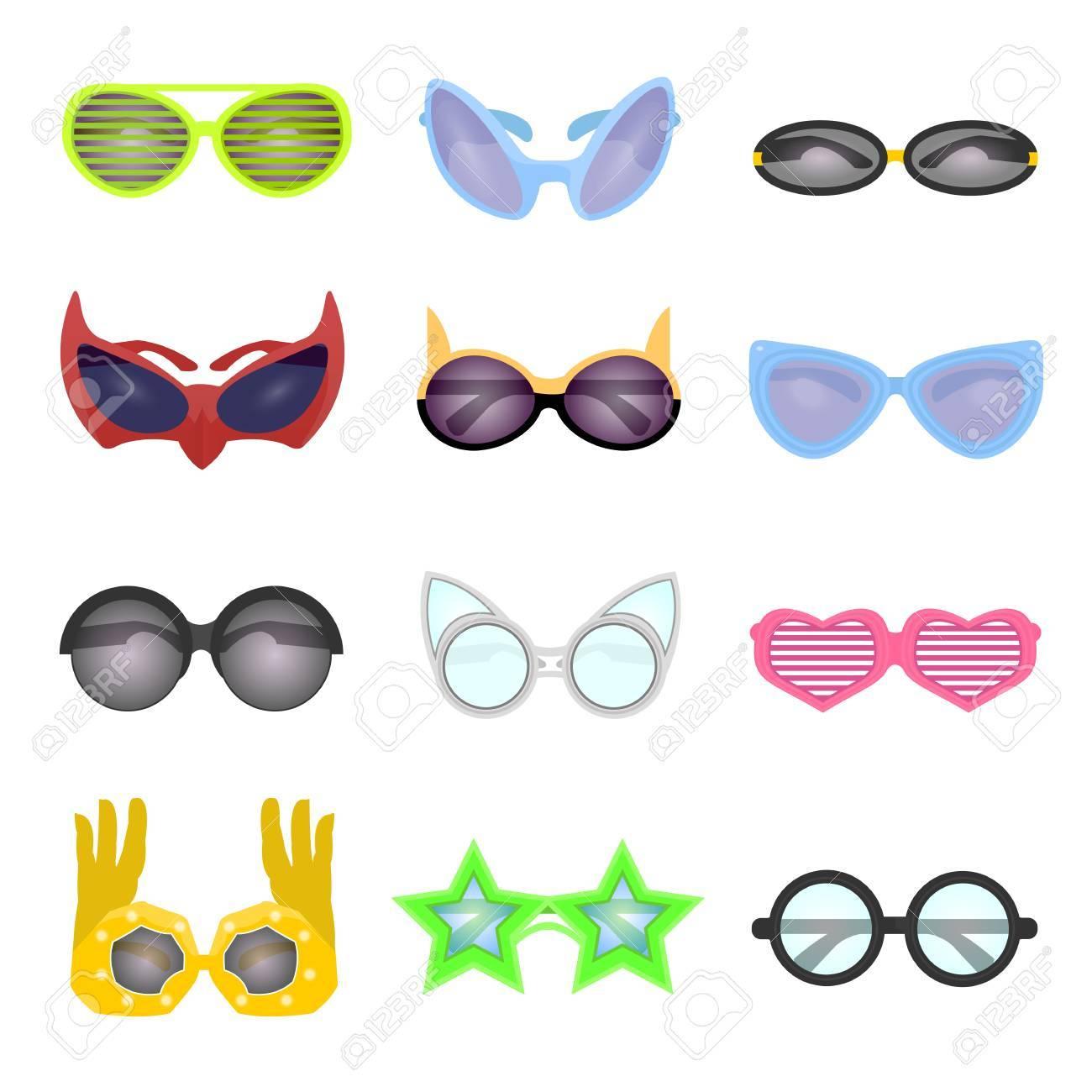 Conjunto De Gafas De Moda. Gafas De Sol De La Colección De Vectores. Estilo  Moderno Y Retro 468f6adf22fa