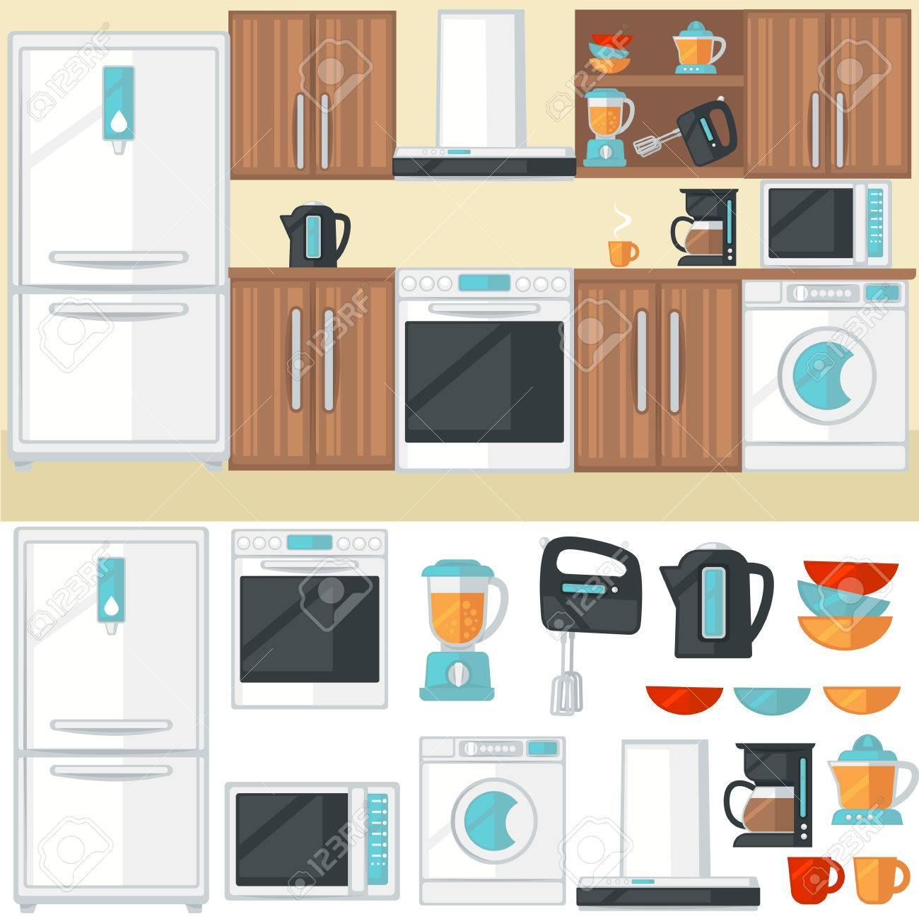 Kuche Zimmer Interieur Mit Kuchenmobel Gerate Elektronik Und