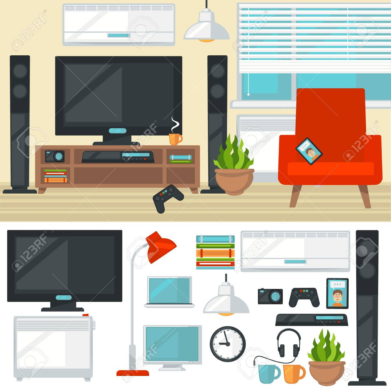 Concept Of Creative Living Room With Chair And Tv. Modern Home ...