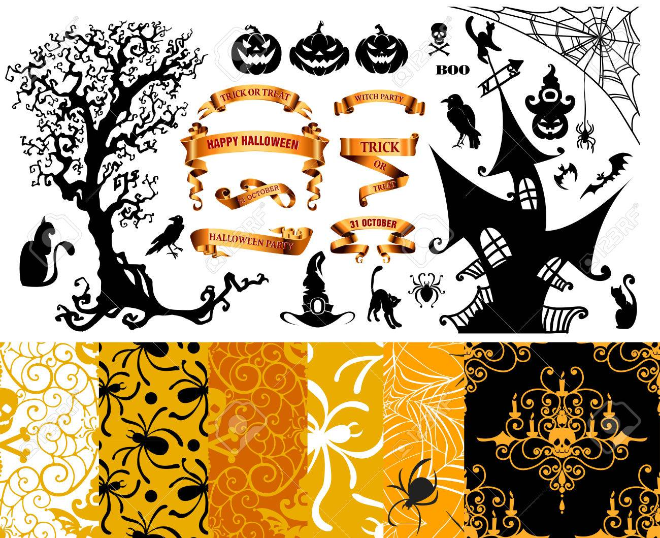 Happy Halloween Background. Set Of Seamless Patterns With ...