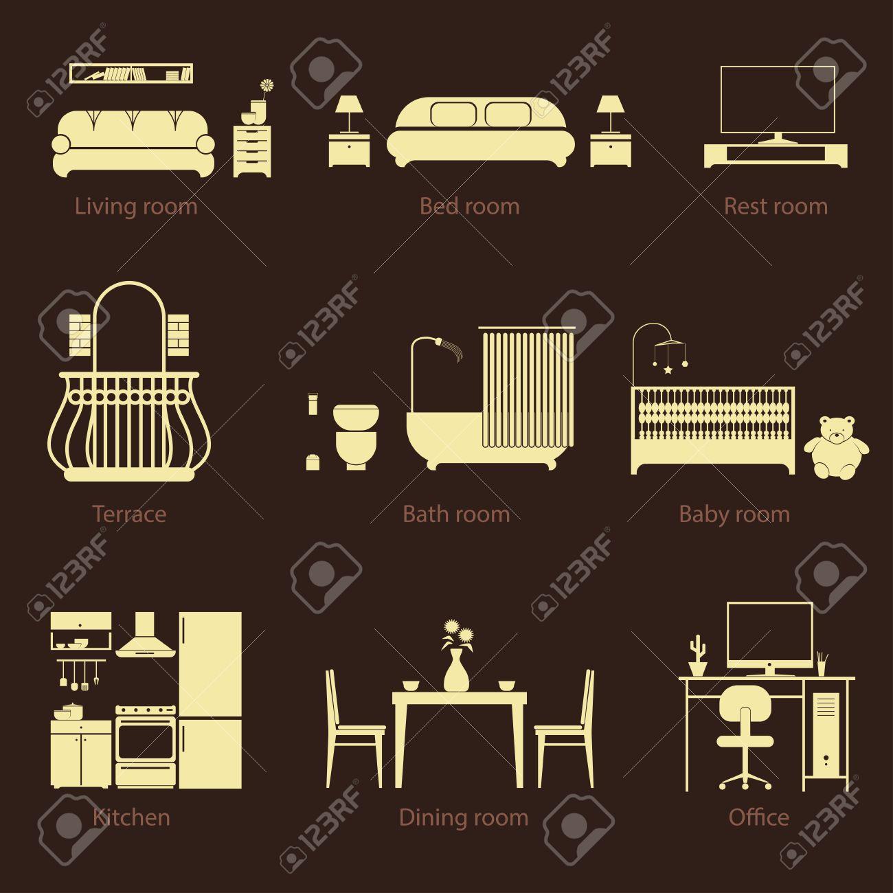 Conjunto De Tipos De Habitaciones En Casa. Estilo De Línea Delgada ...