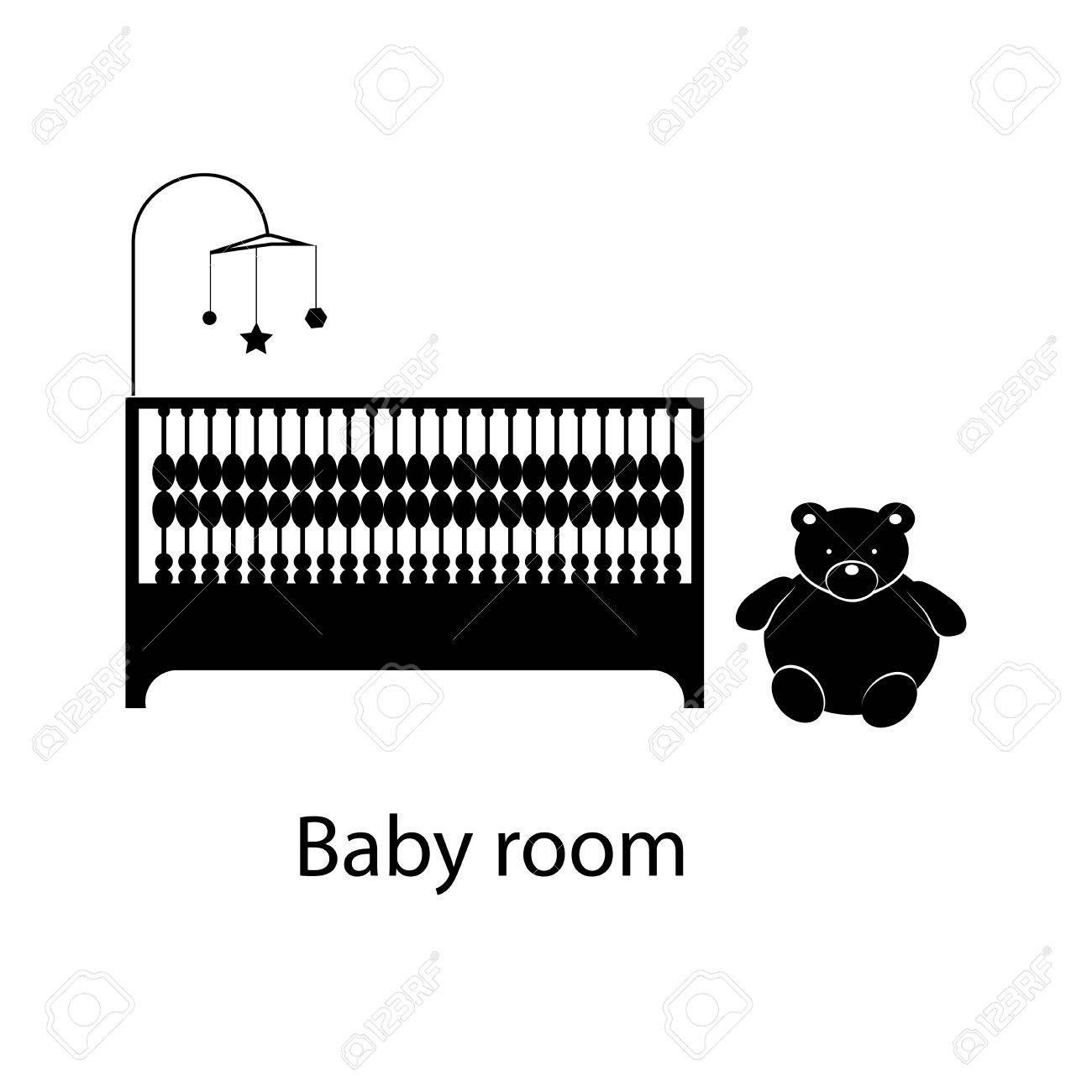 Hogar Y El Hotel La Habitación Del Bebé Interior Con Muebles. Línea ...