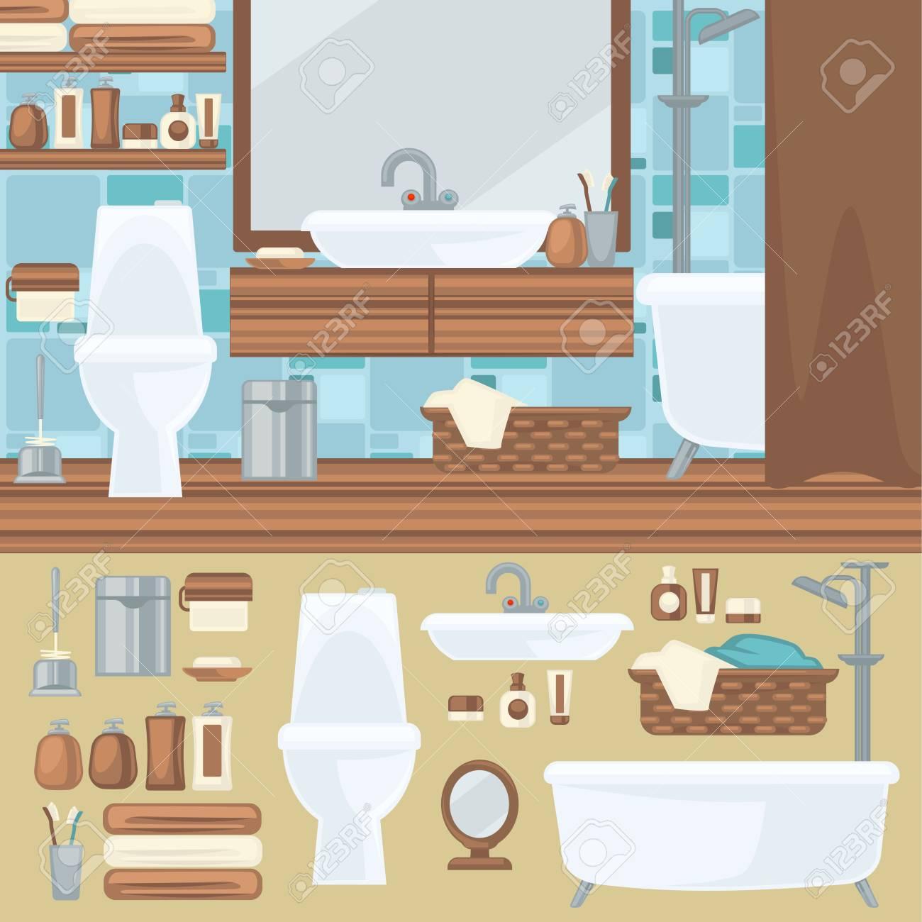 Badezimmer Innenarchitektur. Zubehör Und Möbel-Set. Elemente Für Das ...