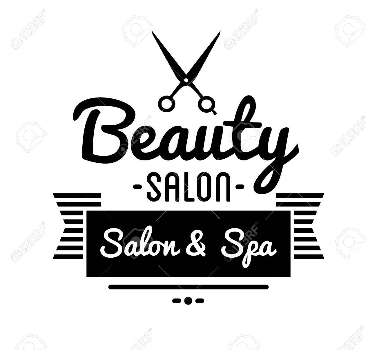 Clip art vector of vintage barber shop logo graphics and icon vector - Vector Vintage Barber Shop And Beauty Spa Salon Badge Vector Element Isolated Icons On White Background
