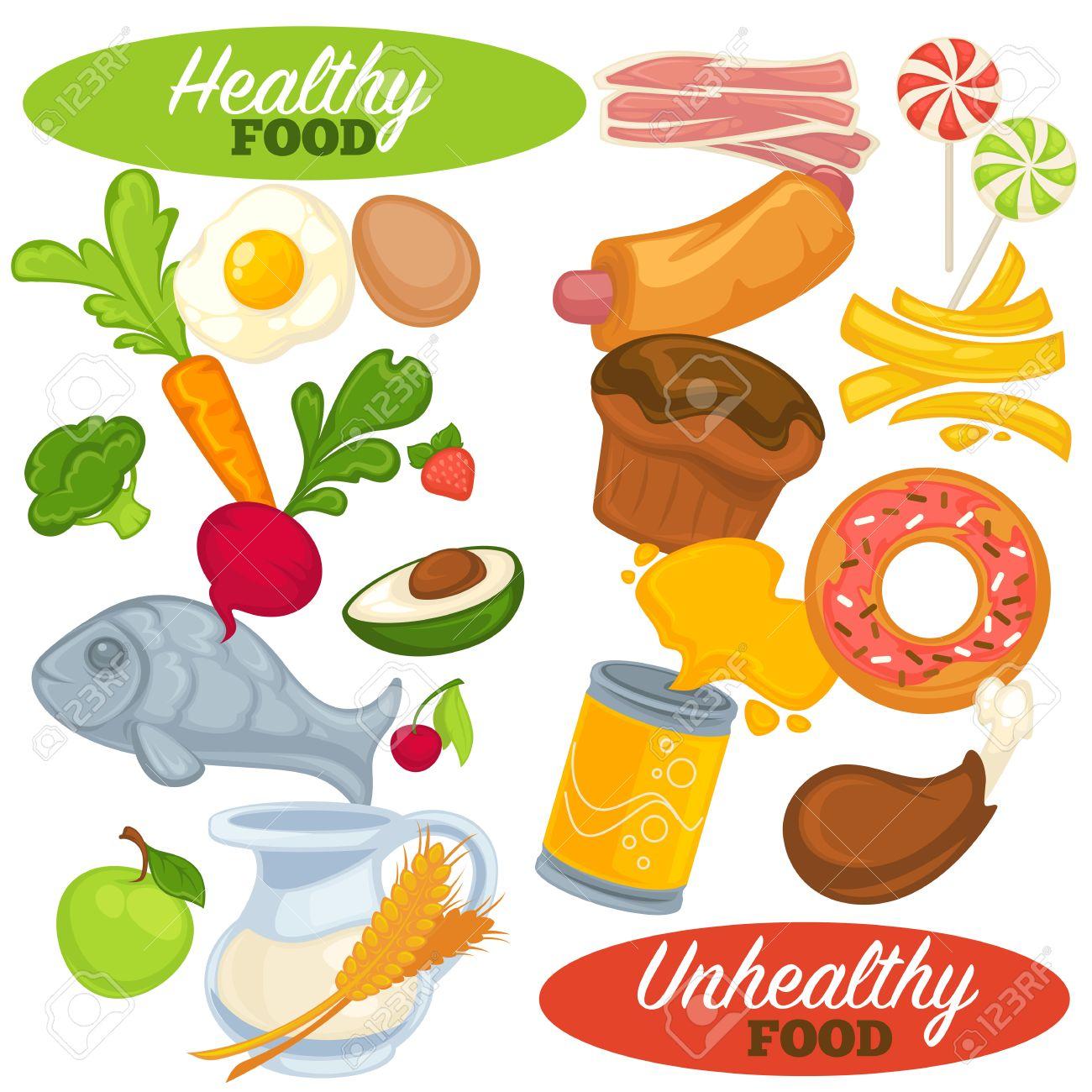 Conjunto De Los Alimentos Saludables Y No Saludables Los Iconos De Rápido Y La Comida Chatarra La Alimentación Fresca Y Natural Las Frutas Y Verduras Hamburguesas Y Refrescos Estilo De Dibujos Animados