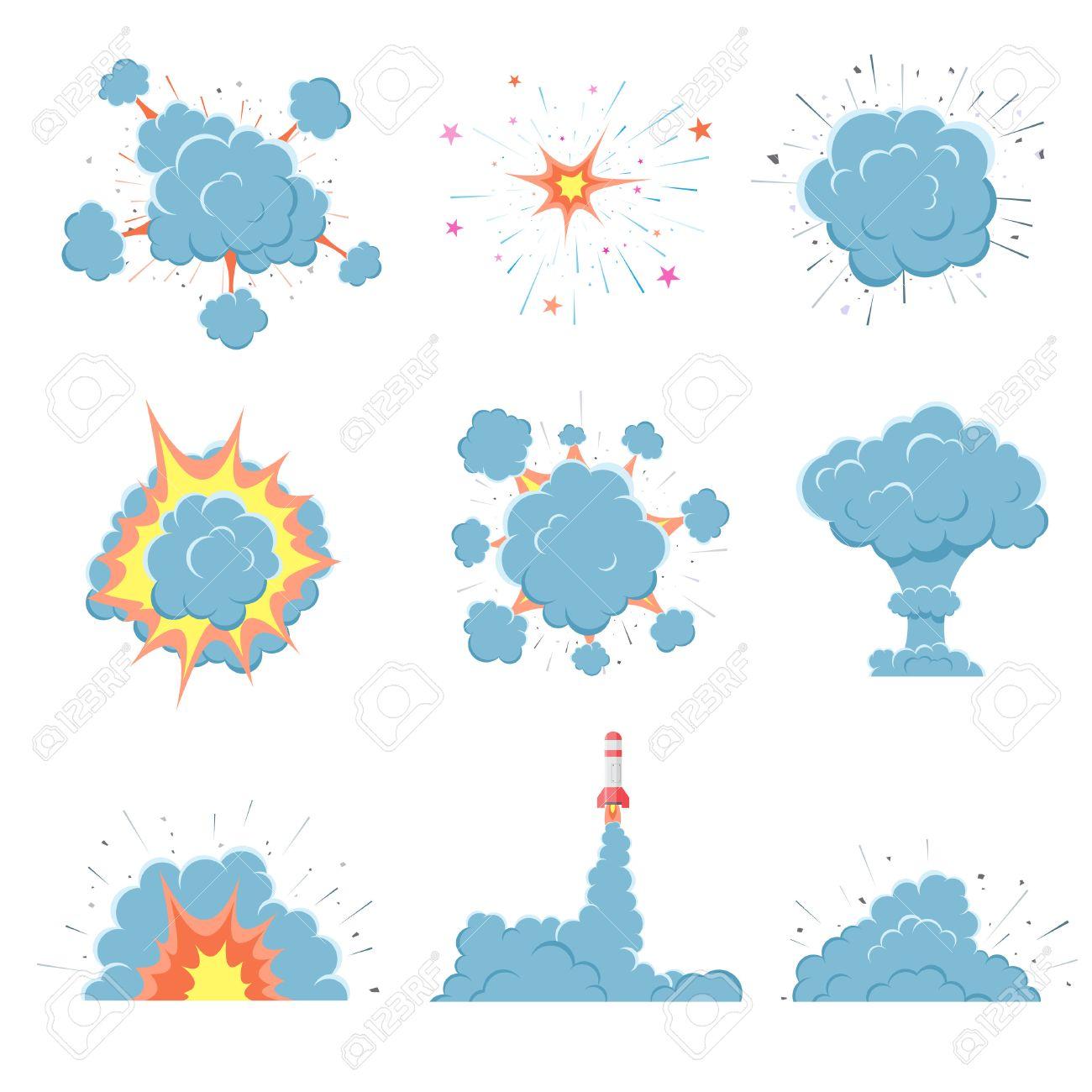Cartoon vector bomb explosion with smoke  Cartoon style  Effect