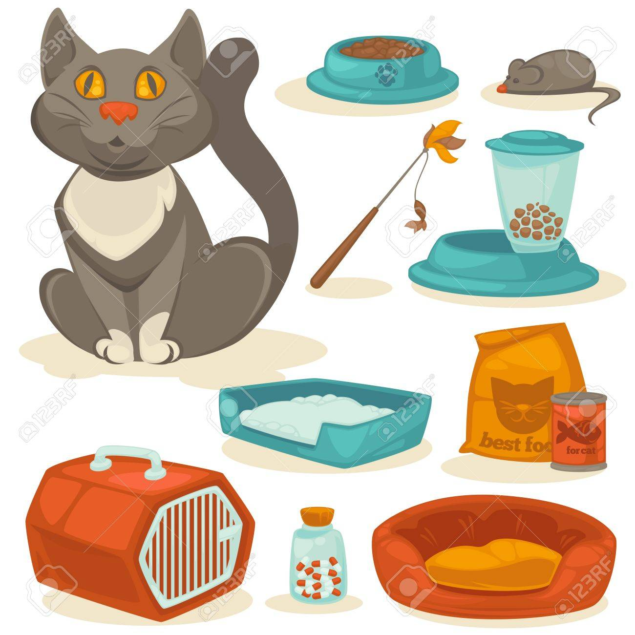 Cat accessories set. Pet supplies: food, toys, mouse, bowl and box, toilet and equipment for grooming. Cartoon style. Vector illustration isolated on white background. - 63337050