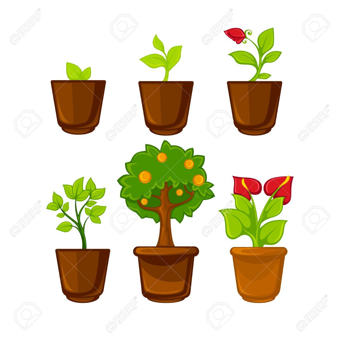 Potten Voor Planten.Potten Planten Met Bloemen En Bladeren In Te Stellen Vector