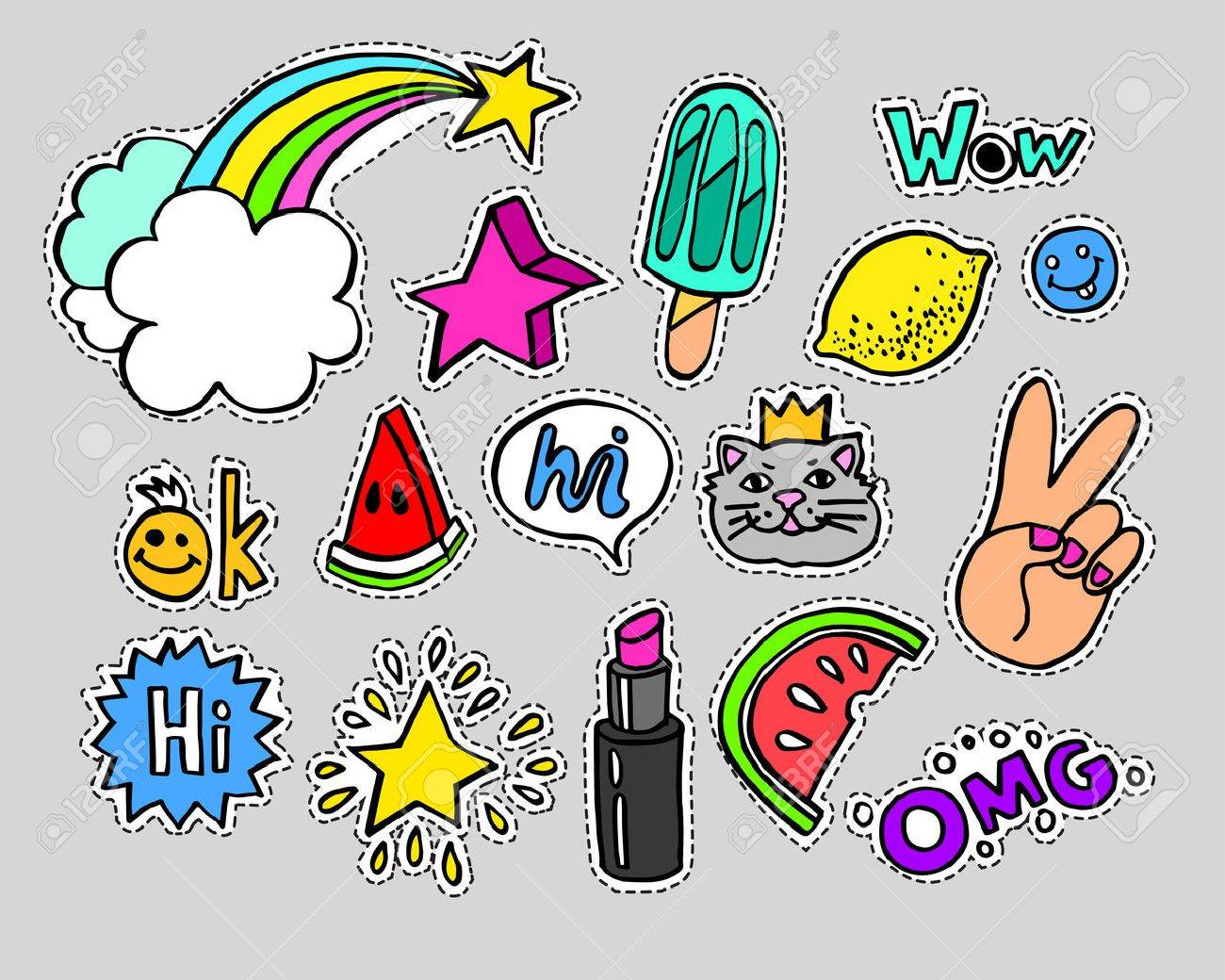 Fashion modern doodle cartoon patch badges or stikers with speach bubbles, stars, heart, lips and other elements. Set of cartoon pins in 80s 90s pop art. Vector Illustration. - 63336950