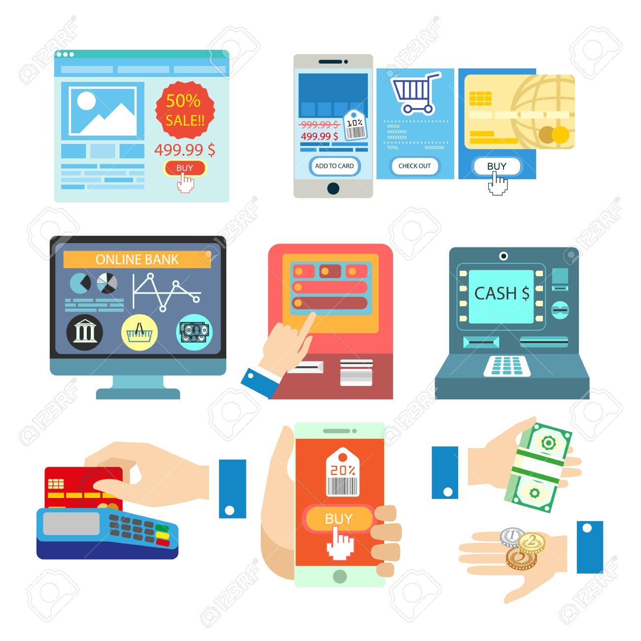 オンライン銀行決済でベクトルのイラストお支払い方法の設定