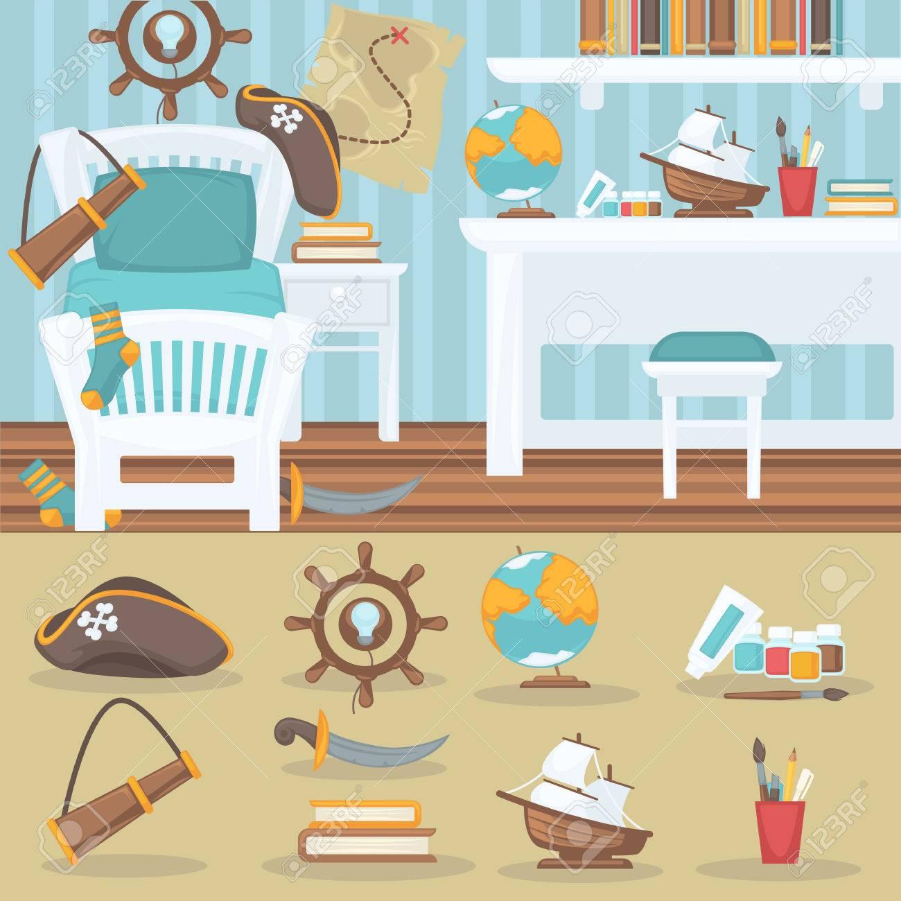 Dormitorio Infantil Interior Para Ni O Habitaci N Del Beb Pirata  # Muebles Juguetes Para Ninos