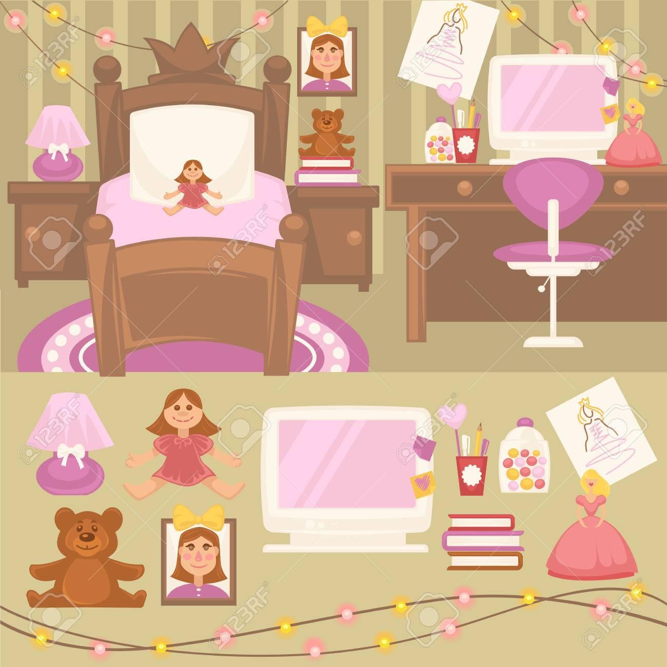 Juego De Muebles Para Las Niñas. Diseño Del Dormitorio. Habitación ...