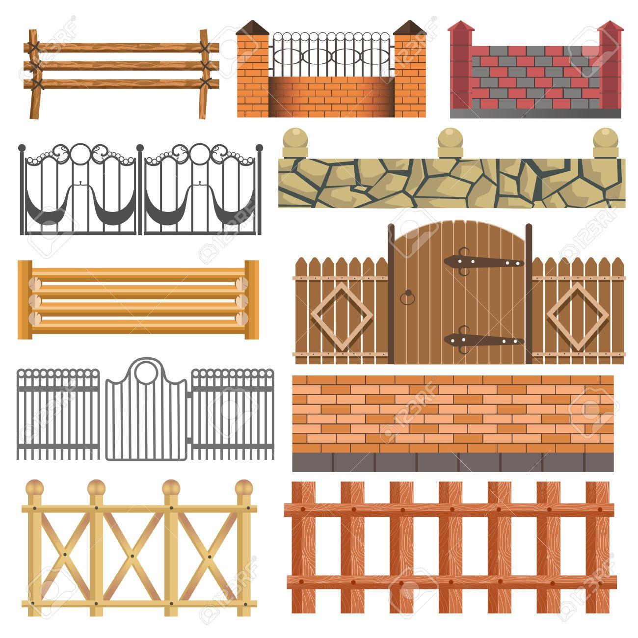 Set Aus Verschiedenen Zaun Design Aus Holz Metall Stein Barrieren